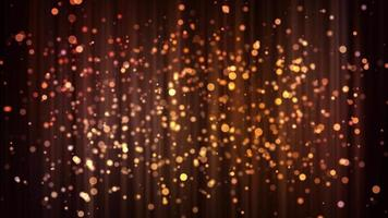 partículas suaves de ouro flutuando lentamente no fundo com reflexos verticais