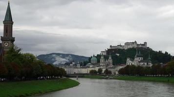 Timelapse view of Salzburg and Salzach river in Salzburg, Austria video
