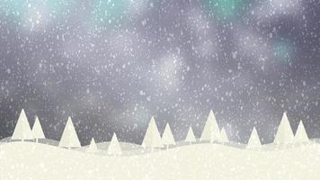 Snow and Christmas trees HD 1080 grey bokeh background