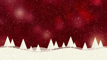 Snow and Christmas trees HD 1080 red bokeh background