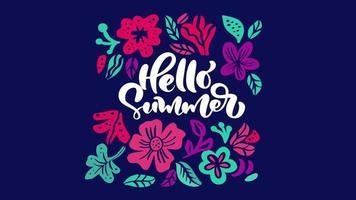 Tarjeta de felicitación de animación de flores con texto saltando Hola verano.