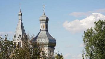 cúpulas da igreja ortodoxa e árvores