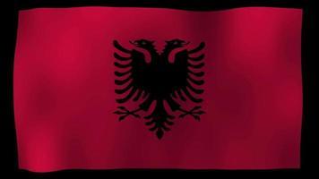 vídeo de stock de bucle de movimiento 4k de bandera de albania
