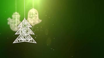 white paper christmas tree signs falling down festive seasonal celebration placeholder green background video