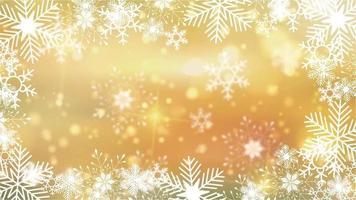 schöne Schneeflocken, die sich auf einem goldenen Hintergrundlinsen-Flare-Bokeh drehen