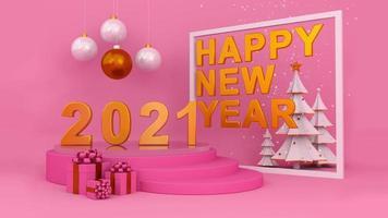 feliz año nuevo mil veintiuno y nieve cae en marco cuadrado.
