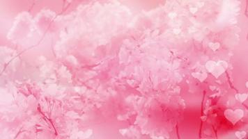 corazones rosas y flores de cerezo