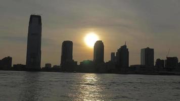 Hoboken, New Jersey Silhouetted Skyline Sunset 4K