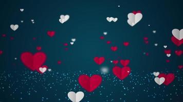 Animación de hermosos corazones flotantes de papel blanco y rojo sobre fondo azul oscuro.