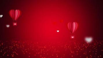 bucle sin interrupción volando globos de aire caliente en forma de corazón rojo.