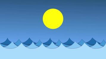 olas bajo el gráfico de movimiento del sol