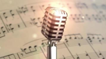 escenario de micrófono retro. cerrar micrófono vintage en el escenario. micrófono antiguo sobre fondo claro