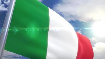 wehende Flagge der italienischen Animation