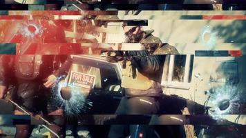 guerreiros góticos posando com armas e atirando em direção à câmera