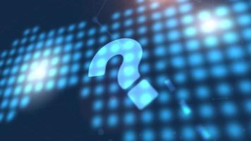 question mark sign faq icon animation blue digital world map technology background video