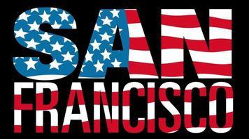 bandera de estados unidos con máscara de tipo en primer plano. San Francisco.
