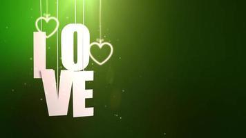 Cartas de amor colgando de una cuerda que cae del techo con fondo verde video