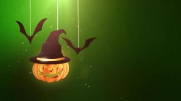 animazione di sfondo verde di Halloween con zucca e pipistrelli che cadono e appesi a stringhe