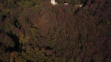 Drone passing over an old castle in woods in 4K