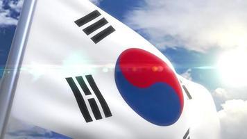 bandera ondeante de corea del sur animación video