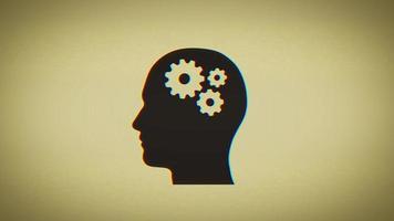 4k cerebro engranajes dentro de la silueta de la cabeza