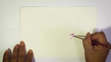 Time Lapse Of Watercolor Illustration Of Colorful Heart