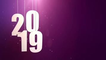 feliz ano novo 2019, números de papel branco pendurados em cordas caindo fundo roxo video