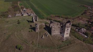 Drone flying above old castle ruins in 4K