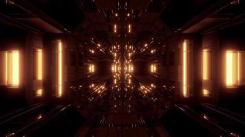 túnel de nave espacial futurista de ficção científica dourada