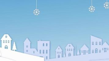 Christmas Background With Snow And Buildings video