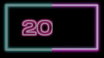mudança de ano novo de 2019 para animação de luz neon de feliz ano novo