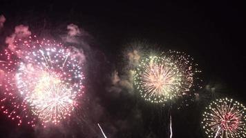 exibição de fogos de artifício no céu video