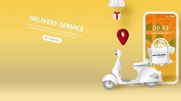 filmagem de vídeo de smartphone com serviço de entrega online