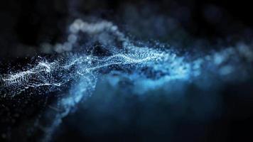 onda de partículas digitales azul abstracto video