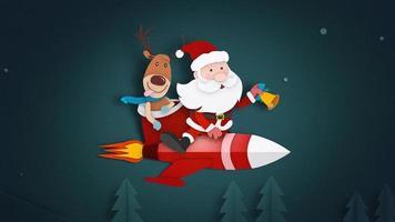 papai noel voando em um foguete