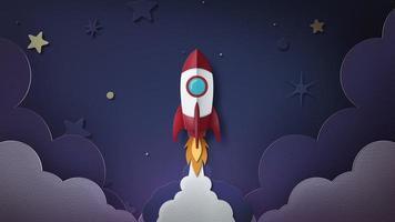 Rocket Launch in Paper Art