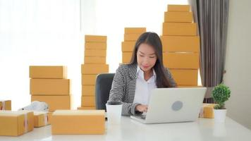Young Asian woman doing home office