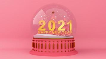 Happy new year  two thousand twenty one and snow falls in the clear glass sphere. video