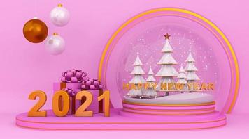 Happy new year two thousand twenty-one on Pink Background. video