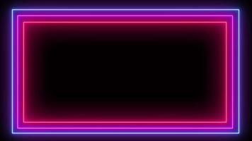 luz de néon, moldura azul, rosa e vermelha.