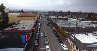 Hawthorne Blvd Portland Oregon 4K Aerial Drone Shot