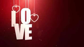 lettres d'amour suspendues à une ficelle tombant du plafond avec fond rouge video