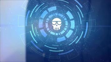 homem de negócios mão holograma projeção hud ícone de criptomoeda