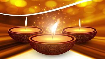 tempio indiano felice diwali su un diwali festival religioso. animazione lampada a olio con sfondo bokeh caldo