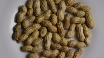 Cinematic, rotating shot of peanuts on a white surface - PEANUTS 001