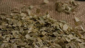 Rotating shot of barley and other beer brewing ingredients - BEER BREWING 296 video