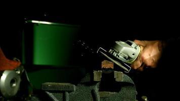 Sparks with angle grinder in ultra slow motion (1,500 fps) - ANGLE GRINDER PHANTOM 003 video