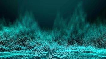 Fondo de ondas de partículas verde azulado