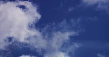 Time lapse of weak cumulus clouds moving on blue sky in 4K