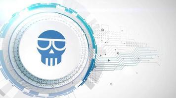 estafa criptomoneda icono animación blanco elementos digitales tecnología fondo